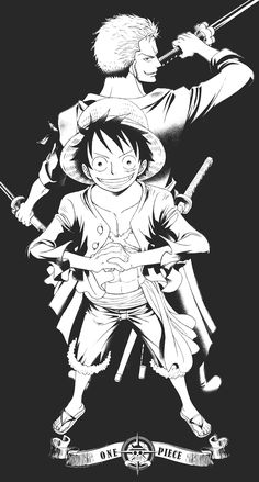 Monkey D. Luffy  and Roronoa Zoro by Oda Eiichirou - in the beginning of the greatest ever crew