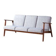 EKENÄSET Three-seat sofa, Isunda grey
