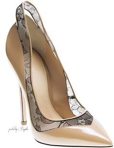 Aleksander Siradekian ~ Leather + Lace Spring Pump, Tan 2015