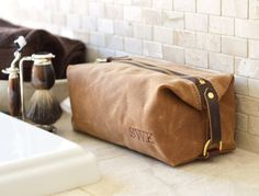 NO. 345 Dopp Kit in Brown Waxed Cotton Canvas by SivaniDesignsShop