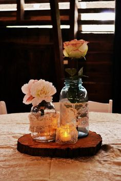 Mason jar wedding. Reception decor. Barn wedding. Barn reception. Allandale mansion. Country wedding. Rustic wedding.