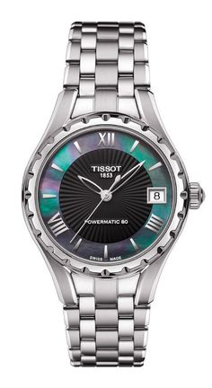 Tissot T-Lady Automatic Watch with Stainless Steel Bracelet and Black Mother-of-Pearl Dial