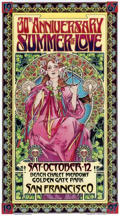 Summer of Love 30th Anniversary, Sat October 12 (1967–1997), Golden Gate Park, SF. Poster by Bob Masse