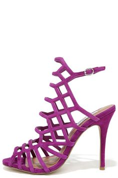 Purple Leather Caged Heels