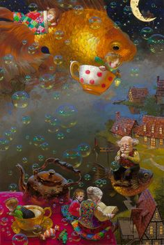 Victor Nizovtsev is a masterful oil painter of theatrical figurative composition, fantasy, landscapes, and still life. ~ love this whimsical tea party Fantasy Landscape, Fantasy Art, Landscape Art, Victor Nizovtsev, Art Fantaisiste, Photo D Art, Children's Book Illustration, Book Illustrations, Whimsical Art