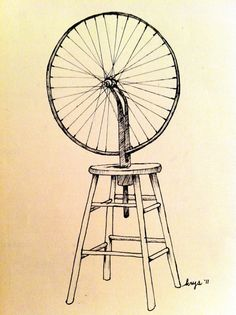 """WhenI was 17 1 saw this for the first time and it changed my art life. Marcel Duchamp """"Roue de bicyclette"""" - drawing by Krys Blakemore"""