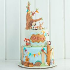 belle and boo inspired cake by cotton tail cake studio - woodland critters animal cake Big Cakes, Fancy Cakes, Cute Cakes, Woodland Cake, Woodland Party, Belle And Boo, Cupcakes Decorados, Animal Cakes, Forest Cake