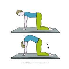 Gymnastikübung Lendenwirbelsäule 12: Mobilisierung der Wirbelsäule, Dehnung und Kräftigung der Rumpfmuskulatur.