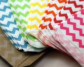 MIX & MATCH - 50 Mini Kraft 2.75 x 4 paper tiny bitty bags with striped CHEVRON design - Packaging, Party Favors, Candy Treats, Retail. $10.50, via Etsy.