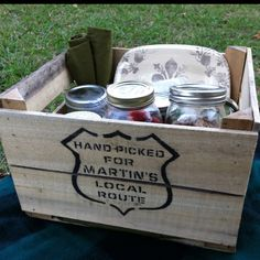 Picnic in an apple crate / All the food was in mason jars