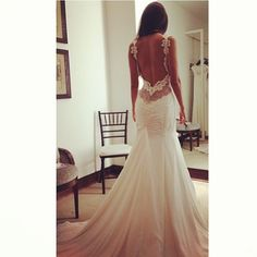 Wedding dress- love the open back and detail