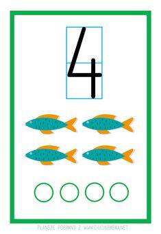 Plansze dydaktyczne od 0 do 10 do druku :) - Kreatywne pomysły na zabawy z dziećmi Learning The Alphabet, Preschool Math, Sunday School, Planer, Symbols, Letters, Blog, Numbers Preschool, Cuba