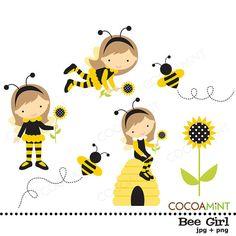 Chica abeja Clip Art por cocoamint en Etsy
