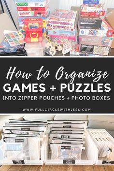 Board Game Organization, Toy Room Organization, Board Game Storage, Puzzle Storage, Home Organization Hacks, Daycare Storage, School Bag Storage, Toy Storage, Storage Ideas