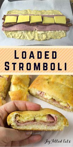 """Loaded Stromboli - Low Carb, Grain Free, THM S. Golden dough stuffed with ham, Irish cheddar, and bacon. """"Best dinner ever,"""" said the kids. And I agreed. This Loaded Stromboli was gobbled up before I had my fill. You better believe it's going back into the dinner rotation. via @joyfilledeats"""