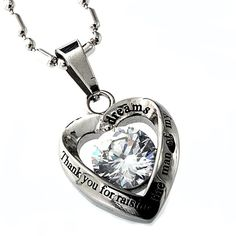 """Thank you for raising the man of my dreams"" heart-shaped Mother in Law necklace"