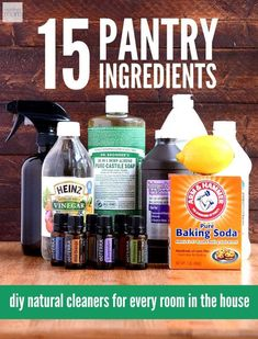 15 Pantry Ingredients - DIY natural cleaners for every room in the house. Here is the motherload of DIY Easy Green Cleaning Recipes. 15 natural ingredients and you can clean every room in your house naturally, without chemicals. #essentialoils #diycleaners #naturalcleaners #greencleaning
