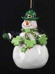 Luck of the Irish Porcelain Snowman w/ Shamrock Garland Christmas Ornament