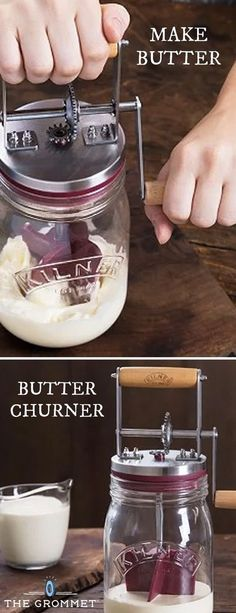 Make homemade butter in about 10 minutes. This modern update of an old-fashioned butter churner was designed by a trusted English glass jar maker. An efficient way to make your own butter. All You Need Is, Just In Case, Butter Churner, Catering, Cooking Tips, Cooking Recipes, Cooking Classes, Menu Dieta, Churning Butter