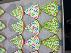 Retro Christmas tree decorated sugar cookies.