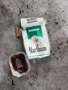 Cigarettes and barbecue sauce. On ice.
