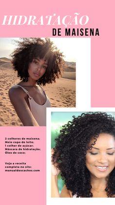 Essa hidratação caseira é uma das queridinhas das crespas e cacheadas. O motivo? A hidratação de maisena deixa o cabelo cacheado super definido, macio e com muito brilho. #manualdoscachos #cabelocacheado #cachos #hidratacaocaseira #curlyhair #crespo #cronogramcapilar Curly Afro Hair, Curly Hair Tips, Curly Hair Styles, Natural Hair Care, Natural Hair Styles, Hydrate Hair, Colored Curly Hair, Beautiful Hair Color, Les Rides