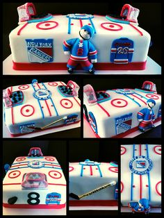 Made A NY Rangers Martin St Louis Themed Hockey Rink Vegan Cake
