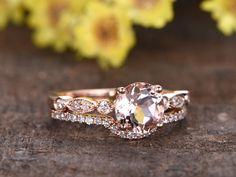 1 Carat Morganite Rose Gold Wedding Set Diamond Bridal Ring Art Deco Halo Stacking Matching Band