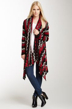 Dolce Cabo Chevron Knit Open Cardigan on HauteLook - I ordered this online not familiar with the company. This is a beautiful well made garment. I would not hesitate to buy this brand again. High Fashion, Fashion Show, Open Cardigan, Plaid Scarf, Chevron, Autumn Fashion, Kimono Top, Couture, Knitting