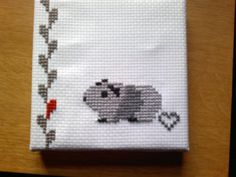 The cutest guinea pig cross stitch. By piggy mom @Lene Bruun Andersen