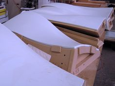 'Beach Glass' colored Corian thermoformed over CNC milled MEDEX molds. Fabrication by Associated Fabrication. Design by Pedestrian Studio + Inform Design. Corian Material, Corian Solid Surface, Wood Surface, Curved Wood, Curved Walls, Plywood Furniture, Furniture Design, Diy Furniture, Cnc