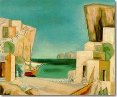Στέρης Γεράσιμος-Ομηρικό Τοπίο, περ. 1930 Greece Painting, Greek Art, Paros, Greek Islands, Landscape Paintings, Mustang, Contemporary Art, Painters, Sketches