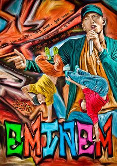 Print Eminem music paint poster portrait  Christmas by Artistico, $33.00