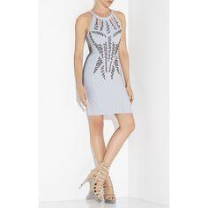 Herve Leger Kyara Beaded Cutout-Back Dress ($1,107) ❤ liked on Polyvore featuring dresses, grey, hervé léger, beaded cocktail dresses, beaded dress, cut out dresses and cut out cocktail dresses