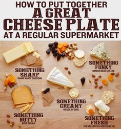 How To Put Together A Great Cheese Plate At A Regular Supermarket — You don't have to serve Kraft singles at a party just because you didn't go to a fancy cheese shop. Fancy Cheese, Wine And Cheese Party, Wine Cheese, Goat Cheese, Cheddar Cheese, Cheese And Wine Tasting, Vegan Cheese, Cooking Art, Cooking Recipes