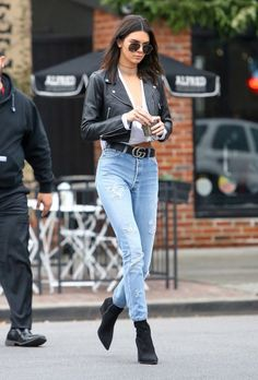 "streetstyleplatform:  ""Kendall Inspired Outfit: Black Leather Jacket + High Waist Jeans  """