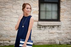 Navy blue Marshall's swing dress, brown ankle wedges, Kate Spade Get Out of Town clutch, gold circle pendant | Summer Outfit 2015 | Pressing Flowers Blog | Alexandra Lee Photography