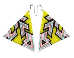 Hand-Beaded Pyramid Earrings