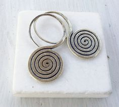 Sterling Silver Spiral Earring Twist Earring by SunSanJewelry