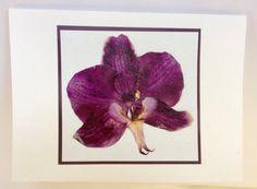 Handmade Pressed Mounted Dark Purple Orchid Card by MaryRuthForYou