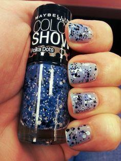 Blue polka dot polish