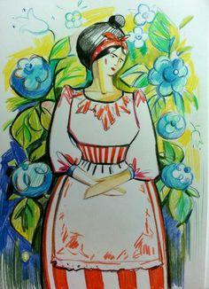 "Sveta Petleva.  ""Барыня в цветах"". Бумага, цветные карандаши."