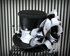 Black Mini Top Hat Black and White Hat Mad by LittleMissHattitude