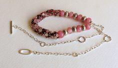 Watermelon Pink Tourmaline Necklace with Lampwork by Smokeylady54