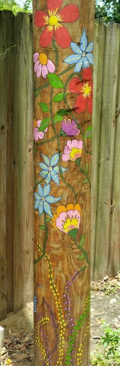 Painted telephone pole More