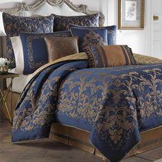 Monroe Midnight Blue Comforter Bedding by Croscill