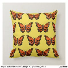 Shop Bright Butterfly Yellow Orange Pretty Throw Pillow created by ONME_Prints. Bright Pillows, Yellow Throw Pillows, Decorative Throw Pillows, Butterfly Pillow, Orange Butterfly, Butterfly Watercolor, Round Pillow, Perfect Pillow, Custom Pillows