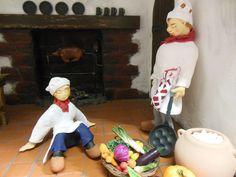 The kitchen of sleeping beauty, handmade fimo dolls by Emma Verkruissen