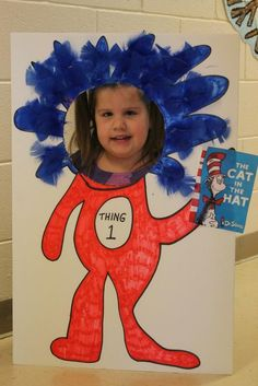Kids loved having their pictures taken as Thing for Dr. Seuss week.  (made this for less than $2.00)  Dollar tree foam board.  Had the feathers, markers and Cat in the Hat printable.