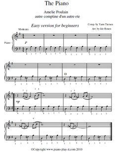 Amelie Soundtrack Piano Sheet Music (Easy Version).